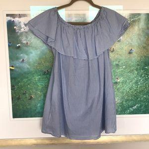Zara Bkue and White Stripe Off the Shoulder dress